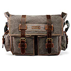 GEARONIC 14″-17″ Men's Messenger Bag Laptop Satchel Vintage Shoulder Military Crossbody … (14 inch, Slate)