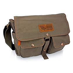 GEARONIC TM Men's Vintage Canvas Leather Tote Satchel School Military Shoulder Messenger Sling Crossbody Hiking Bag Backpack For Toiletry Gym Travel Work Laptop Green