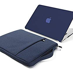 GMYLE 2 in 1 Bundle Soft-Touch Frosted Hard Case for MacBook Air 13 inch (Model: A1369/ A1466) and 13-13.3 inch Water Repellent Laptop Sleeve with Handle and Pocket – Navy Blue