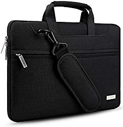 Hseok 3-Way 13.3 Inch Laptop Shoulder Bag Brifecase Water-Resistant Notebook Sleeve Case for MacBook Air Pro, iPad Pro, Surface Book Most 13-14 inch Dell/Ausu/Acer/HP/Toshiba/Lenovo,Black