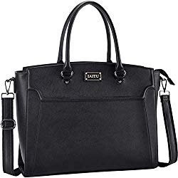IAITU Laptop Bag for Women, 15.6 Inch Classic Laptop Tote Bag Work Bag for Business with Adjustable Shoulder Strap (Black)