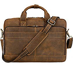 Jack&Chris Men's Genuine Leather Briefcase Messenger Bag Attache Case 15.6″ Laptop, MB005B