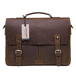 Jack&Chris Men's Leather Briefcase Messenger Bag Laptop Crossbody Shoulder Bag,MB008B