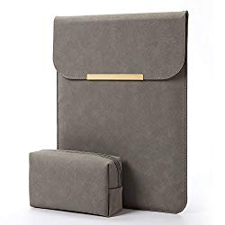 KALIDI Laptop Sleeve 13.3 inch for MacBook Air/13 inch MacBook Pro Retina 2017 2016,Faux Suede Leather-Dark Gray