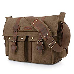 Kattee Unisex's Classic Military Canvas Shoulder Messenger Bag Leather Straps Fit 16″ Laptop (Coffee)