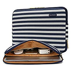 Kayond Water-Resistant Canvas 13 inch Laptop Sleeve Pocket 13 inch 13.3 inch Laptop Case,12.9 inch Tablet Sleeve(13-13.3 inches, Breton Stripe)