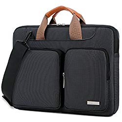 Lacdo 15- 15.6 Inch Laptop Shoulder Bag, 360° Protective Laptop Sleeve Case for Acer Aspire, Predator, Toshiba, Dell Inspiron, ASUS P-Series, HP Pavilion, Lenovo, Chromebook Notebook Briefcases, Black