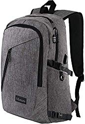 Laptop Backpack, Travel Computer Bag for Women & Men, Anti Theft Water Resistant College School Bookbag, Slim Business Backpack w/USB Charging Port Fits UNDER 17″ Laptop & Notebook by Mancro (Grey)