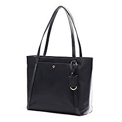 Laptop Bag for Women by Miss Fong,Womens Tote Bags Fits 15.6 Inch Laptop and Tablet,Nylon Tote Bag with In Bag Organizer and RFID Blocking Wallet Pocket (Black)