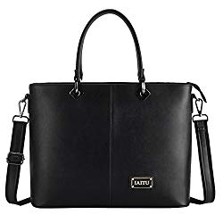 Laptop Bag for Women, IAITU Stylish Handbag Tote Bag Fits 15-15.6 Inch Laptop Multi Compartments Work Bag (Black)