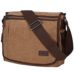 Laptop Messenger Bag 14 inch, Modoker Military Crossbody Messenger Bag for Men, Casual Canvas Satchel Computer Bag for College Work (Brown)