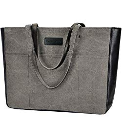 Laptop Tote Bag,Women 13-15.6 Inch Laptop Bag for Work,Lightweight Canvas Tote Bag Office Briefcase (1.Black)