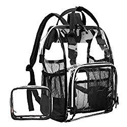LOKASS Large Clear BackpackTransparent PVC Multi-Pockets School Backpacks/Outdoor Backpack Fit 15.6 Inch Laptop Safety Travel Rucksack with Black Trim-Adjustable Straps & Mesh Side(Black)