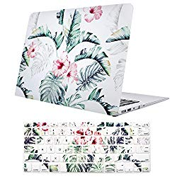 Macbook Air 13 Inch Case, TeenGrow Plastic Hard Protective Smooth Macbook Shell Case with Keyboard Cover for Macbook Air 13″ (Model: A1369/A1466), Banana Leaf
