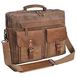 Mens Messenger Bag 15.6 Inch Vintage Genuine Leather Briefcase Waterproof Waxed Canvas Laptop Computer Bag Large Leather Satchel Shoulder Bag Brown