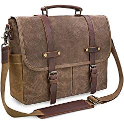 Mens Messenger Bag 15.6 inch Waterproof Vintage Genuine Leather Waxed Canvas Briefcase Large Satchel Shoulder Bag Rugged Leather Computer Laptop Bag, Brown
