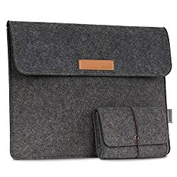 MoKo 13.5-Inch Sleeve Bag for Surface Book 2 2017 13.5″ / Surface Book (2016 & 2015), Felt Protective Ultrabook Carrying Case Cover, with Small Felt Bag & Two Back Pockets – Dark Gray
