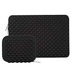 MOSISO Shock Resistant Diamond Foam Water Repellent Lycra Laptop Sleeve Bag Cover Compatible 13-13.3 Inch MacBook Pro/Air,Notebook with Small Case, Black