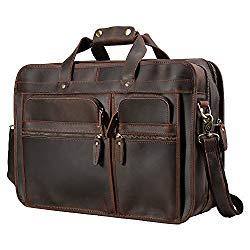 Polare Men's 17″ Full Grain Leather Messenger Bag for Laptop Briefcase Tote