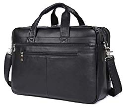 Polare Real Soft Nappa Leather 17″ Laptop Case Professional Briefcase Business Bag For Men (Black)