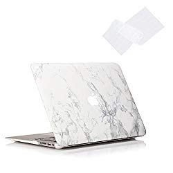 RUBAN Plastic Hard Case and Keyboard Cover for MacBook Air 13 inch (Models: A1369 / A1466) – White Marble