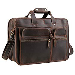 Texbo Men's Solid Full Grain Cowhide Leather Large 17 Inch Laptop Briefcase Messenger Bag Tote