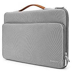 Tomtoc 360° Protective Laptop Sleeve for 15 -15.6 Inch HP | Dell | Asus | Acer | Thinkpad | Samsung Laptops Ultrabooks Notebooks, Spill-Resistant 15.6 Inch Laptop Tablet Briefcase, Gray