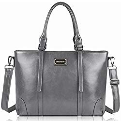 ZMSnow Laptop Tote Bag,Business Spacious Computer Shoulder Work Bag with Adjustable Crossbody Strap Up to 15.6 Inch,Grey