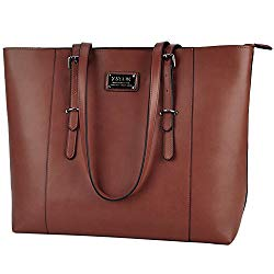 ZYSUN Laptop Tote Bag,15.6 in Multi-Function PU Leather Modern Laptop Shoulder Bag with Durable Straps for Women