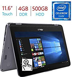 2018 Newest Business Asus VivoBook Flip 11.6″ 2-in-1 HD Touchscreen Laptop/Tablet, Intel Dual Core N3350, 4GB DDR3 RAM, 500GB HDD, WiFi, FingerPrint Reader, Windows 10 Home, Stylus Pen Included