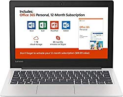 New Lenovo 130S 11.6″ HD Laptop, Intel Celeron (2 core) N4000 1.1GHz up to 2.6GHz, 4GB Memory, 64GB SSD, Webcam, Bluetooth, HDMI, USB 3.1, Windows 10, Office 365 Personal 1-Year Included