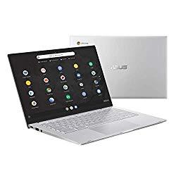 Asus Chromebook C425 Clamshell Laptop, 14″ FHD 4-Way NanoEdge, Intel Core M3-8100Y Processor, 8GB RAM, 64GB eMMC Storage, Backlit KB, Silver, Chrome OS, C425TA-DH384