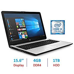 HP Premium 15.6-inch HD WLED-Backlit Display Laptop PC, Intel Dual Core i3-7100U 2.4GHz Processor, 4GB DDR4 SDRAM, 1TB HDD, Bluetooth, HDMI, Webcam, 802.11ac WiFi, Windows 10, Natural Silver