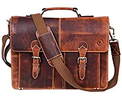15.5″ Leather Briefcase Messenger Bag for Laptop by Aaron Leather (Brown)