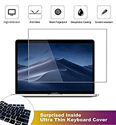 2 Pack Matte Anti-Glare Screen Protector for 2016-2019 MacBook Pro Touch Bar 13 inch A2159 A1706 A1708 A1989 with Surprise Keyboard Skin, Help for Your Eyes Reduce Fatigue