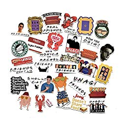 34 pcs Movie Friends Themed Vinyl Stickers for Personalize Laptop, Car, Helmet, Skateboard, Luggage Graffiti Decals (Friends)