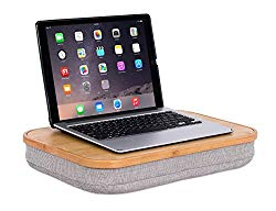 BirdRock Home Bamboo Lap Desk with Laptop Storage Compartment – Pillow Cushioned Laptop Accessories Book Stand – Great for Bed Couch Table Sofa Chair – Food Serving Tray – Grey
