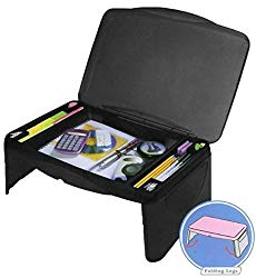 Black Folding 17″ x 11″ Lap Desk with Storage – Durable Lightweight Portable Laptop Computer Children Adult Kids Drawing Lap Desks for Homework or Reading. Breakfast Tray Food Table