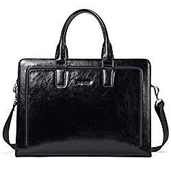 BOSTANTEN Women Genuine Leather Briefcase Tote Business Vintage Handbag 15.6″ Laptop Shoulder Bag Black