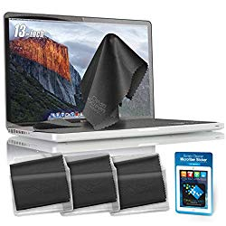Clean Screen Wizard Microfiber Keyboard Covers Cloths, Screen Protector Cleaner Kit, and Sticker Screen Cleaning for MacBook Pro 13, MacBook Air 13, 13in Laptops, Bundle 4 Pack, Grey