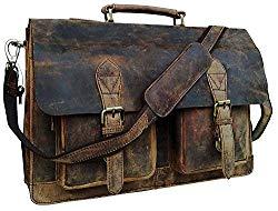Cuero Retro Buffalo Hunter Leather Laptop Messenger Bag Office Briefcase College Bag (18 inch)