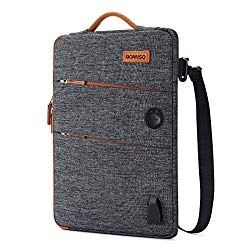 DOMISO 14 Inch Waterproof Laptop Bag Canvas with USB Charging Port Headphone Hole for 14″ Laptops/Apple / Acer Chromebook 14 / HP Pavilion 14 Stream 14 / Lenovo/Dell / ASUS/MSI, Dark Grey