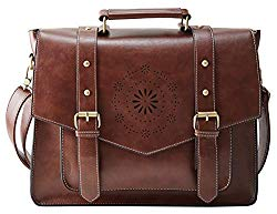 ECOSUSI Women's Briefcase Messenger Laptop Bag PU Leather Satchel Work Bags Fits 14″ Laptop, Coffee