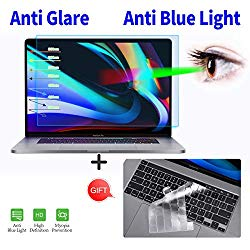 for MacBook Pro 16 Inch Screen Protector, Anti Blue Light Anti Glare Screen Fitler with Keyboard Cover for 2019 New MacBook Pro 16 Inch A2141 with Touch Bar & Touch ID Screen Protector Cover