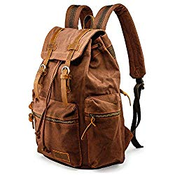 GEARONIC TM 21L Vintage Canvas Backpack for Men Leather Rucksack Knapsack 15 inch Laptop Tote Satchel School Military Army Shoulder Rucksack Hiking Bag Coffee