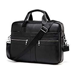 Genuine Leather Messenger Bag for Men – Padded 14 Inch Laptop Briefcase