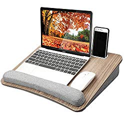 HUANUO Lap Laptop Desk – Portable Lap Desk with Pillow Cushion, Fits up to 15.6 inch Laptop, with Anti-Slip Strip & Storage Function for Home Office Students Use as Computer Laptop Stand, Book Tablet