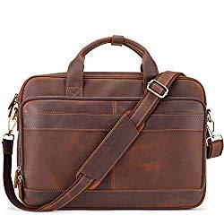 Jack&Chris Men's Genuine Leather Briefcase Messenger Bag Attache Case 15.6″ Laptop, MB005-9L