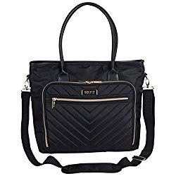 Kenneth Cole Reaction Chelsea Quilted Chevron 15″ Laptop & Tablet Business Tote With Removeable Shoulder Strap, Black