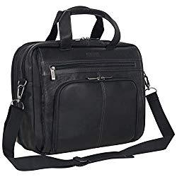 Kenneth Cole Reaction Colombian Leather Dual Compartment Expandable 15.6″ Laptop Portfolio, Black
